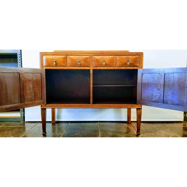 Antique English Oak Arts & Crafts Sideboard / Buffet For Sale - Image 12 of 13