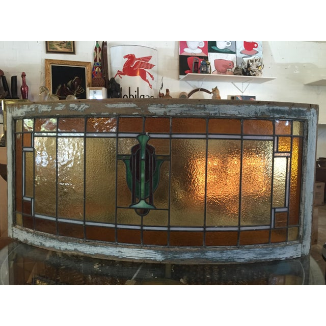 1930s beauty~Authentic, original, artisanal stained glass, convex-curved stained glass window with heavy, decorative...