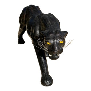 1970s Vintage Leather Wrapped Panther With Glass Eyes For Sale