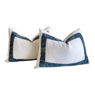 Pair of Vintage French Linen and Batik Lumbar Pillows For Sale