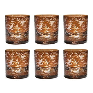 Finch Double Old Fashioned Glasses, Set of 6, Mahogany For Sale