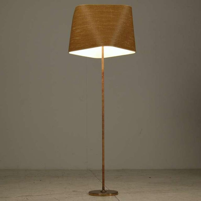 Superb Itsu Floor Lamp with Cane Covered Stem and Cane Shade ...