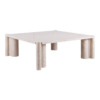 Square Travertine Jumbo Coffee Table by Gae Aulenti For Sale