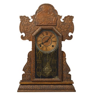 19th Century Traditional Antique E. Ingraham Kitchen/Shelf Gingerbread Style Clock For Sale