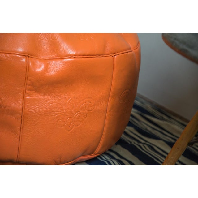 Antique Revival Orange Leather Pouf Ottoman For Sale - Image 4 of 8