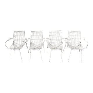 Mid-Century Russell Woodard Style Metal Mesh Patio Chairs - Set of 4 For Sale