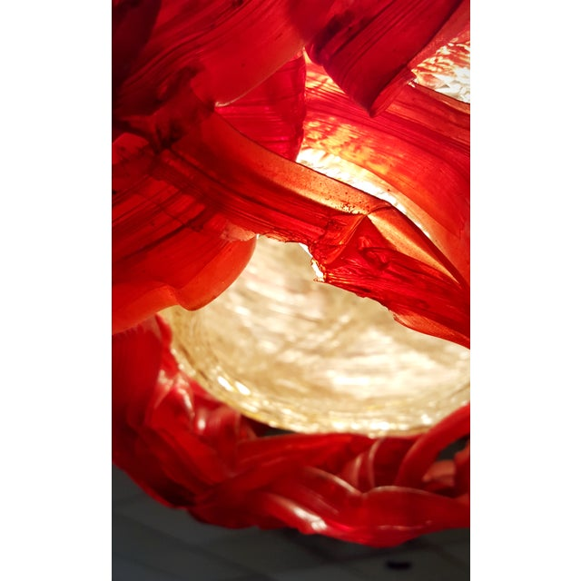 """Mid Century """"Spun Glass"""" Red and White Swag Light - Image 5 of 6"""