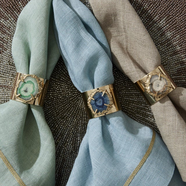 Crystal Quartz Napkin Rings, Seafoam, Set of Two For Sale In New York - Image 6 of 8