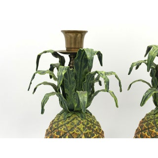 1980s Italian Tole Pineapple Sculpture Candlesticks, Pair Preview