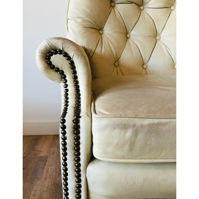 Leather Vintage Distressed Leather Tufted Chair With Ottoman For Sale - Image 7 of 13
