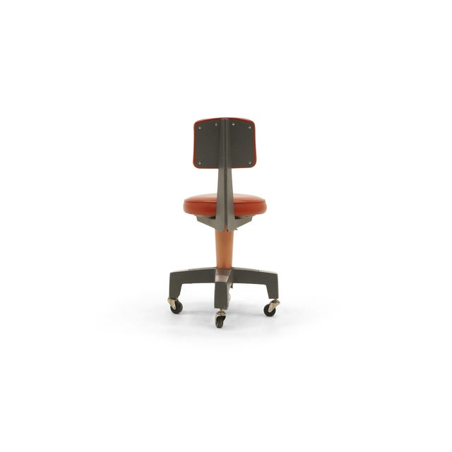 1950s Industrial Design Swivel Chair on Casters by American Optical Corp Red Orange For Sale - Image 5 of 11