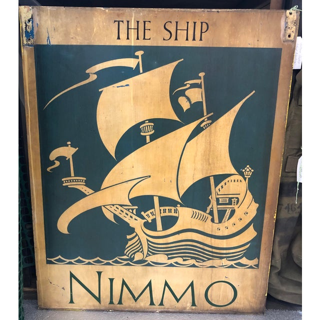 Americana Vintage Nautical Double Sided Painted Wood Sign For Sale - Image 3 of 3