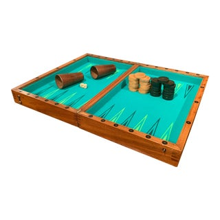 19th Century French Walnut Complete Backgammon or Checkers Board Game For Sale