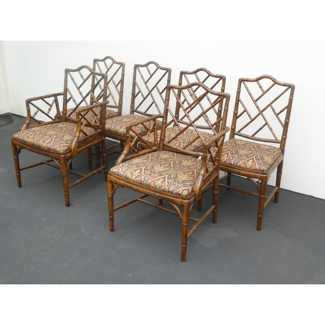 Vintage Chippendale Bamboo Style Wood Dining Chairs