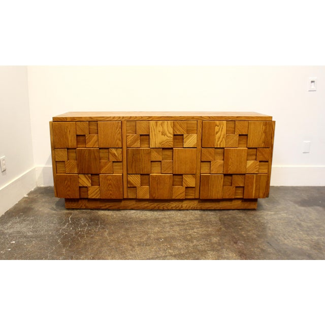 1970s Mid-Century Modern Brutalist Mosaic Patchwork Dresser by Lane in Oak For Sale - Image 10 of 10