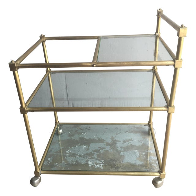 Vintage Mid Century Brass Bar Cart - Image 1 of 6