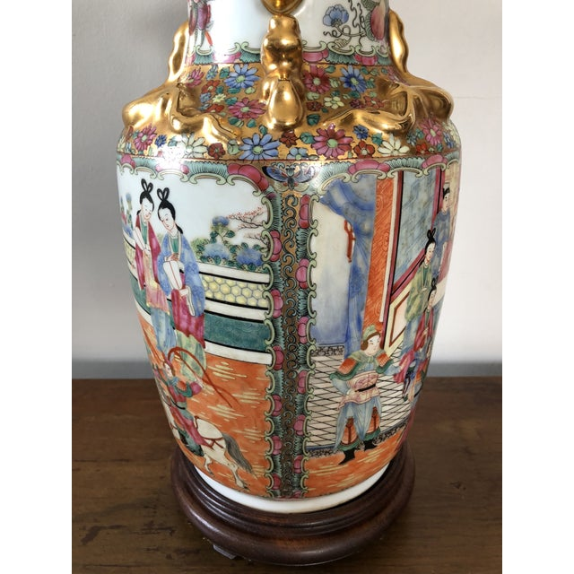 Antique Chinese Rose Medallion Table Lamp For Sale In Buffalo - Image 6 of 7