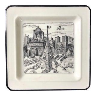 Vintage Italian Paris Scene Plate