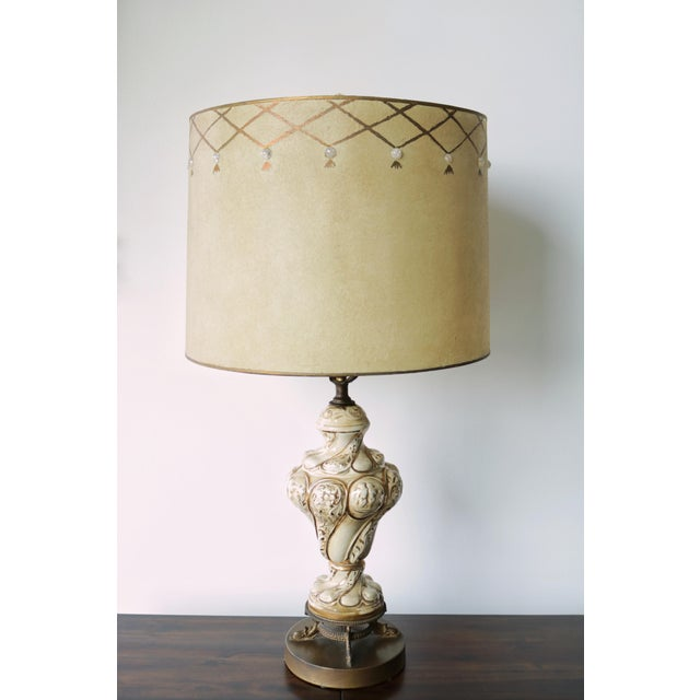 Vintage Mid-Century Lamp & Fiberglass Lamp Shade For Sale In Los Angeles - Image 6 of 11