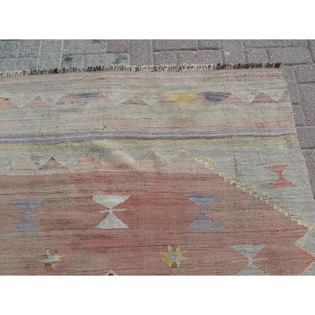 "Vintage Turkish Kilim Rug - 4'11"" x 7'1"" For Sale - Image 5 of 11"