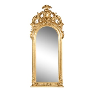 Early 19th Century Hand Carved Giltwood Crown Top Wall Mirror For Sale