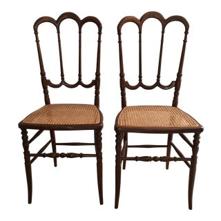 Vintage European Chiavari Style Ornate Wood Caned Side Chairs- a Pair