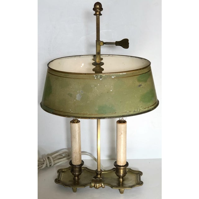French Brass and Tole Bouillotte Candlestick Lamp For Sale In San Francisco - Image 6 of 6