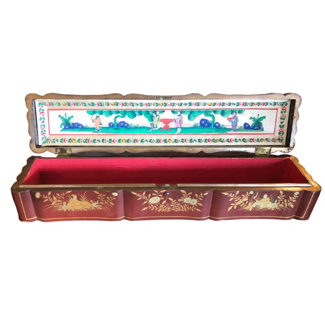 Wood Early 19th Century Hand Painted Chinese Fan Box For Sale - Image 7 of 7