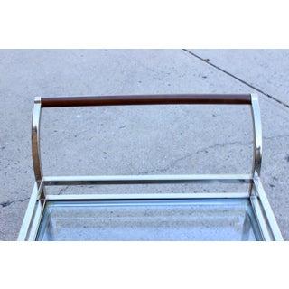 Vintage Hollywood Regency Modern Chrome Glass Bar Cart Preview
