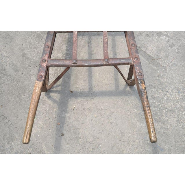 Antique Industrial Steampunk Distressed Iron & Wood Hand Truck Cart Coffee Table For Sale - Image 9 of 11