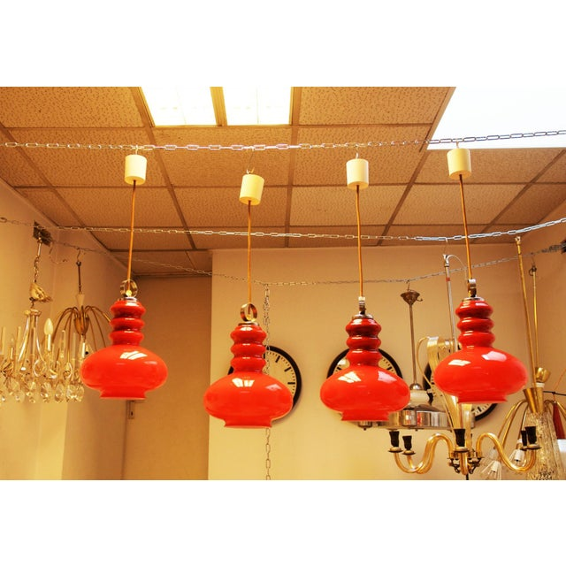 Midcentury hanging lamp made of glass & steel For Sale - Image 6 of 11