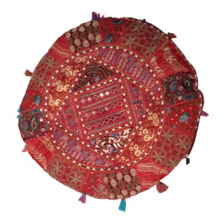 Vintage Moroccan Embroidered Pouf Pillow