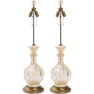 Pair of 1950s Seguso Gold Flake Murano Lamps For Sale