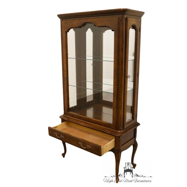 Hammary Solid Cherry Louis XVI Country French Lighted Curio Display Cabinet For Sale In Kansas City - Image 6 of 13