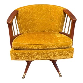 Mid Century Crushed Velvet Swivel Barrel Arm Chair For Sale