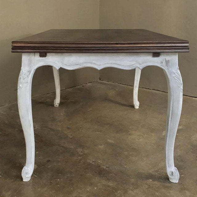 Wood Antique Country French Draw Leaf Painted/Stained Dining Table For Sale - Image 7 of 12