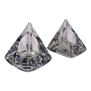 Nybro Sweden Pyramid Votive Candle Holders by Tord Kjellstrom - a Pair For Sale