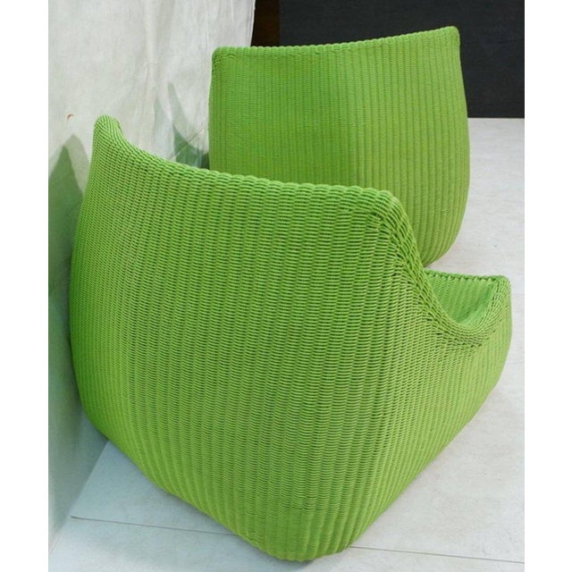 Woven Fiberglass Lime Green Lounge Chairs - A Pair For Sale - Image 5 of 6