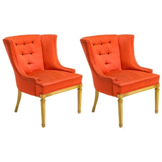 1940s Vintage Hollywood Regency Style Lounge Chairs- A Pair For Sale