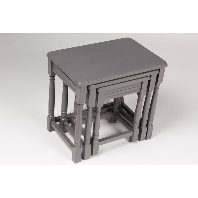 Jacobean-Style Gray Nesting Tables - Set of 3 - Image 3 of 6