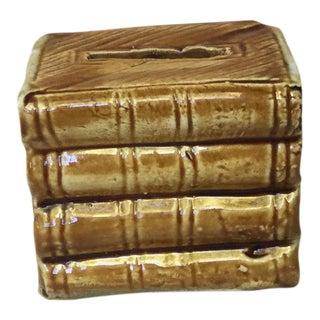 Majolica Onnaing Book Money Bank Box Circa 1900 For Sale