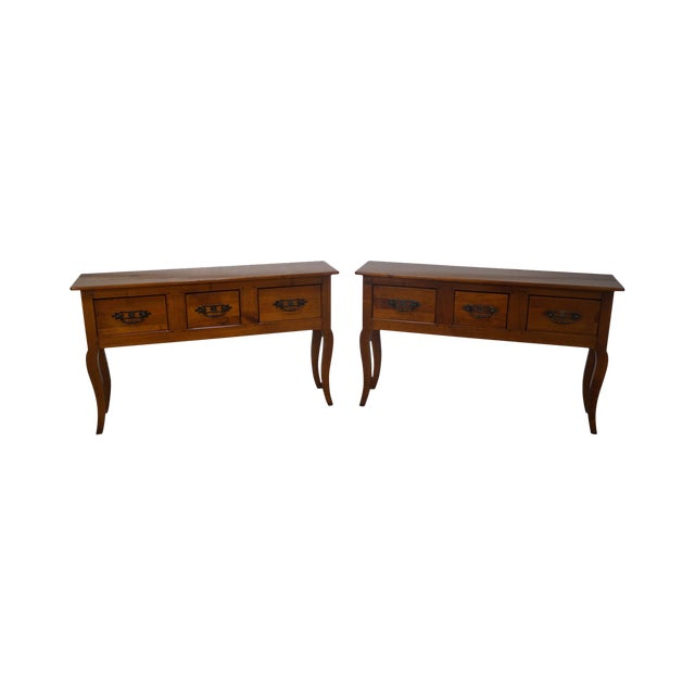 Custom French Country Cherry Wood Console Tables - A Pair - Image 1 of 10