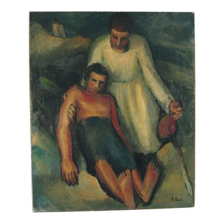 1940s - R. Perrin Mother & Child French Oil on Canvas Religious Painting For Sale
