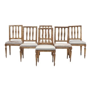 c.1780 Set of 6 Italian Silverleaf Dining Chairs For Sale