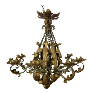 Vintage French Iron Chandelier For Sale