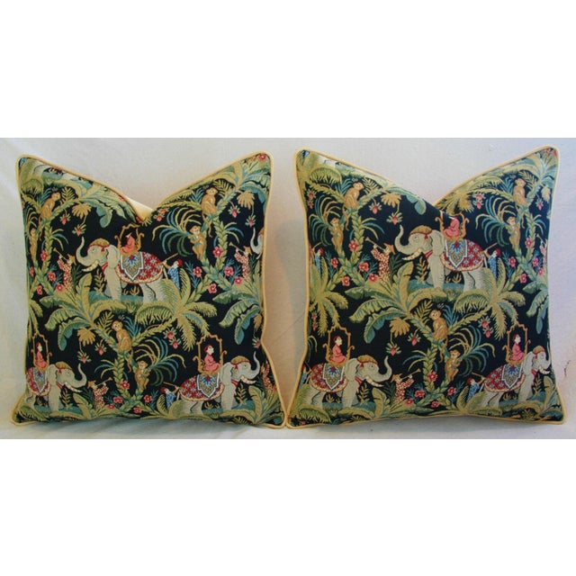 Custom English Tapestry Jungle Paradise Pillows - a Pair - Image 6 of 10