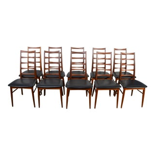 "1960s Vintage Niels Koefoed for Koefoed Hornslet Teak ""Lis"" Dining Chairs- Set of 10 For Sale"