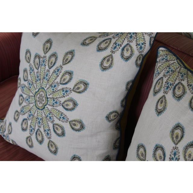 Mid-Century Modern 1960s Mid-Century Modern Printed Linen Down Pillows - a Pair For Sale - Image 3 of 13