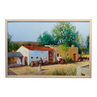 "Tom Parkinson ""Pueblo Village in New Mexico"" Oil Painting For Sale"
