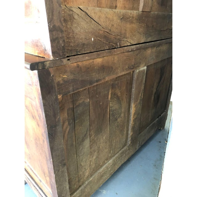 French 19th Century Walnut Deux Corps Buffet Cabinet For Sale - Image 12 of 13